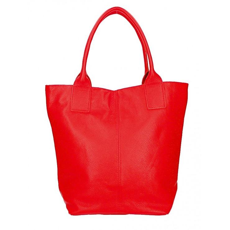 Kožená kabelka na rameno 1255 Made in Italy červená