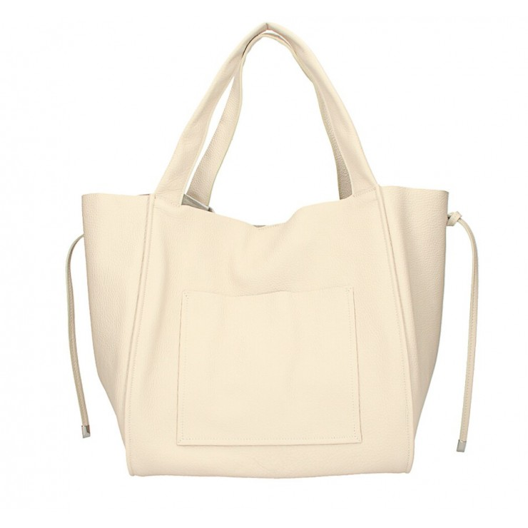 Genuine Leather Maxi Bag 1112 beige Made in Italy