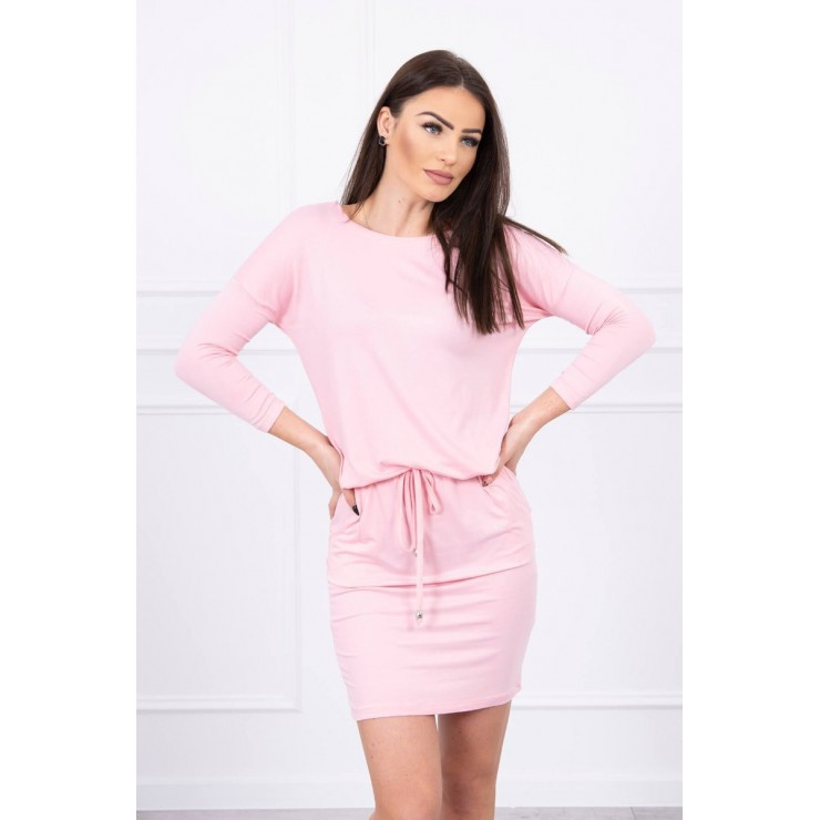 Women's dress tied at the waist MI9013 powder pink