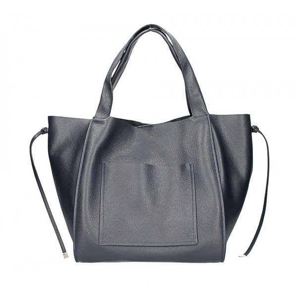 Kožená shopper kabelka 1112 tmavomodrá Made in Italy Modrá