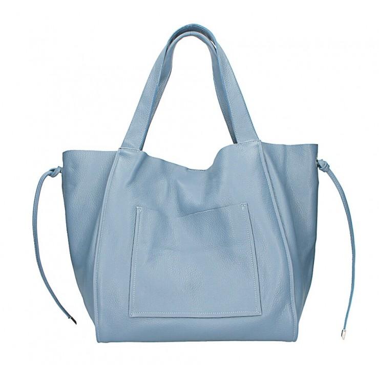 Kožená shopper kabelka 1112 blankytna modrá Made in Italy