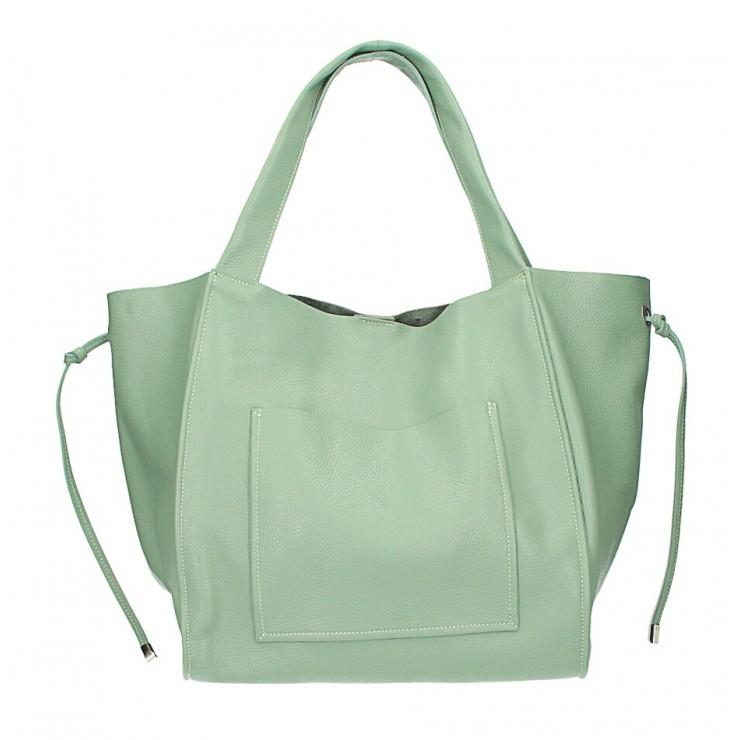 Genuine Leather Maxi Bag 1112 mint green Made in Italy