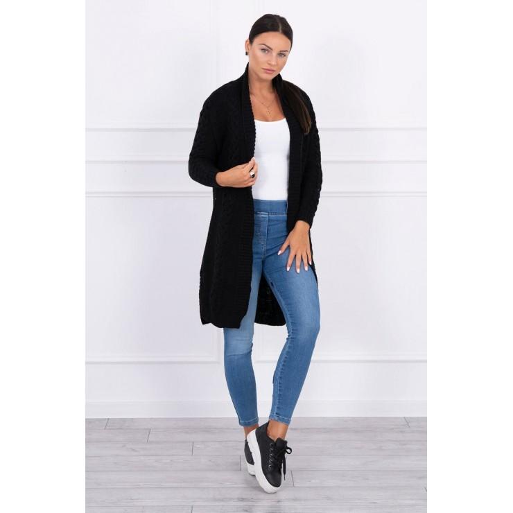 Ladies long sweater with braids MI2019-1 black
