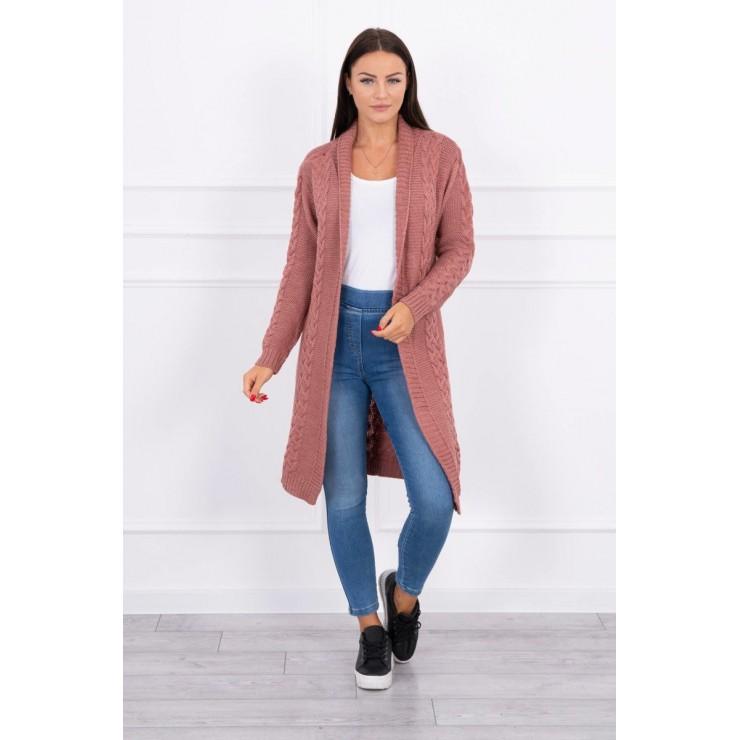 Ladies long sweater with braids MI2019-1 pink