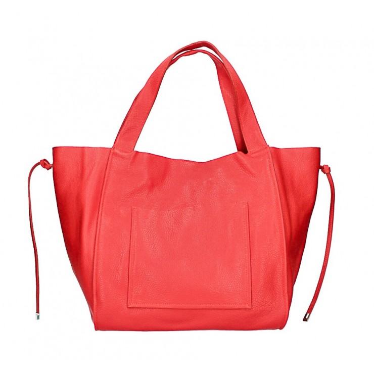 Kožená shopper kabelka 1112 červená Made in Italy