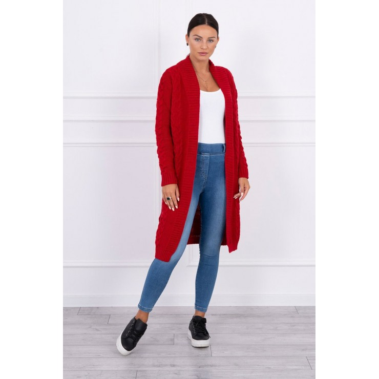 Ladies long sweater with braids MI2019-1 red