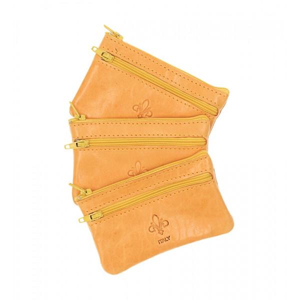 Kožená kľúčenka na zips 273 žltá Made in Italy Žltá