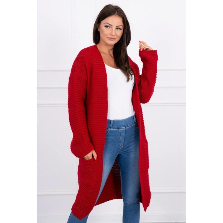 Dámsky sveter dlhý kardigán s vreckami MI2019-20 červený