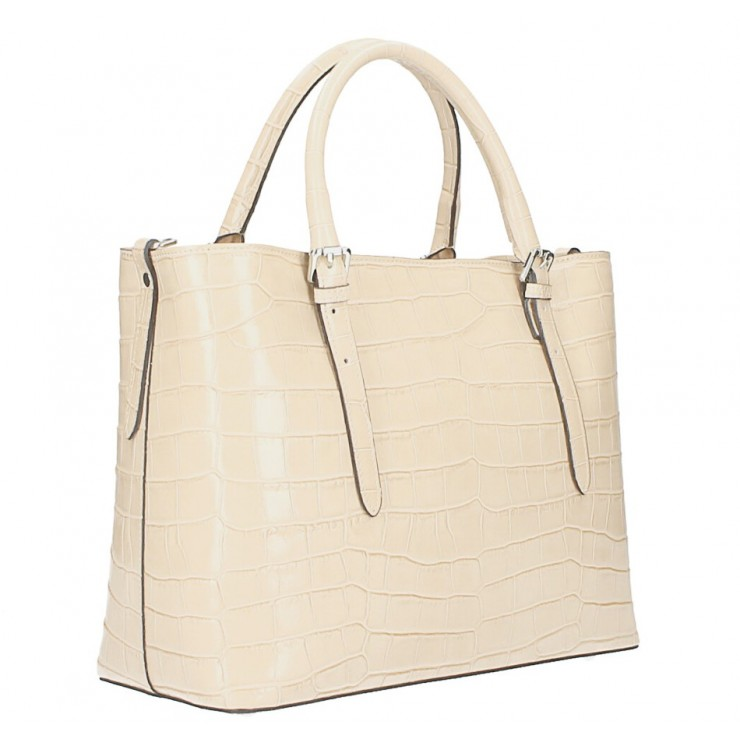Maxi leather handbag 1218 Made in Italy beige