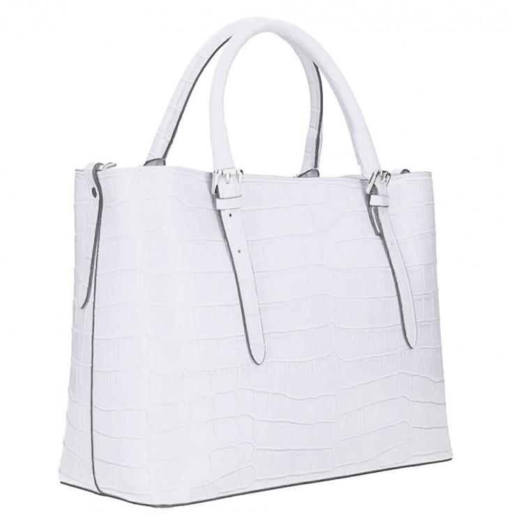 Kožená kabelka 1218 Made in Italy bílá