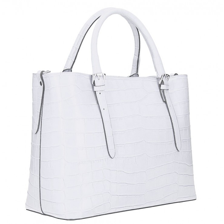 Maxi leather handbag 1218 Made in Italy white