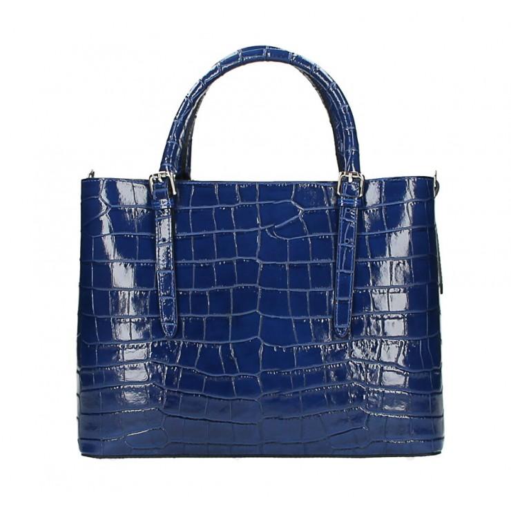 Maxi leather handbag 1218 Made in Italy blue