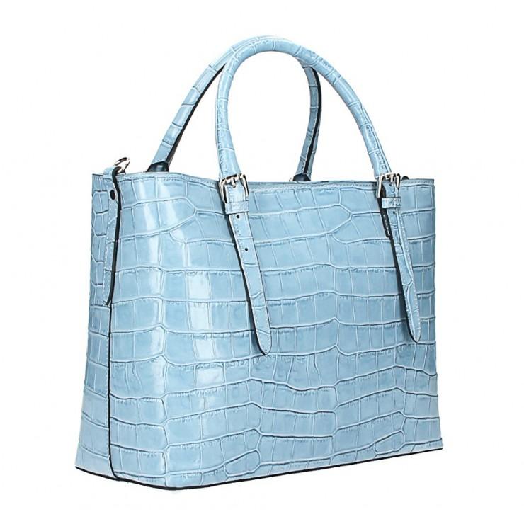 Kožená kabelka 1218 Made in Italy nebesky modrá