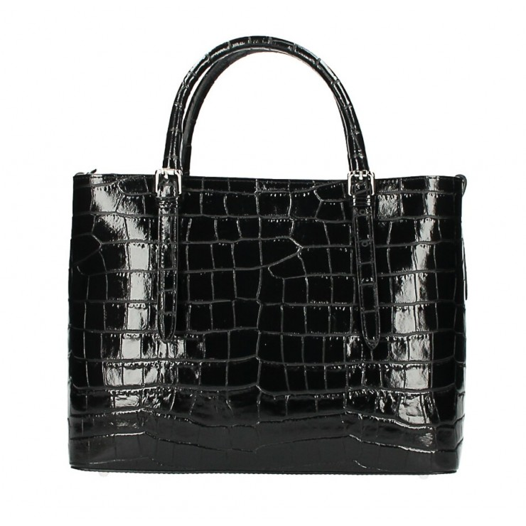 Kožená kabelka 1218 Made in Italy čierna