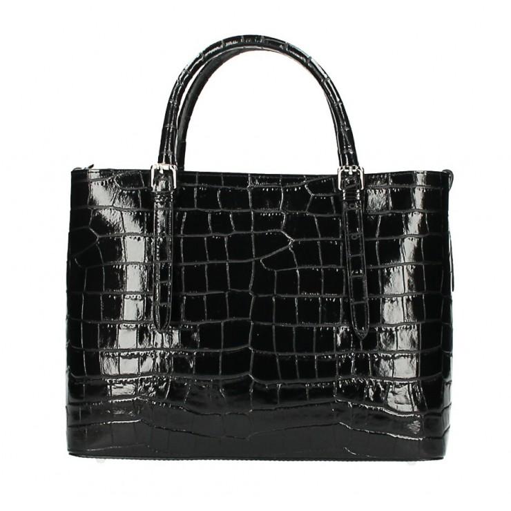 Maxi leather handbag 1218 Made in Italy black