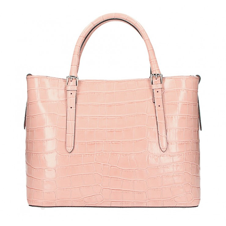 Maxi leather handbag 1218 Made in Italy pink