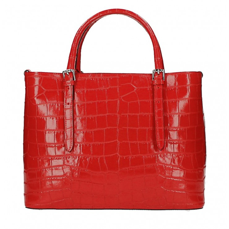 Kožená kabelka 1218 Made in Italy červená