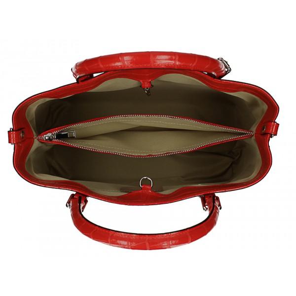 Kožená kabelka 1218 Made in Italy okrová Okrová