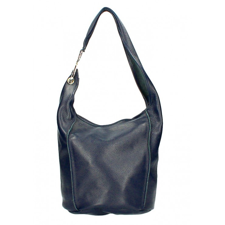Genuine leather Maxi bag 1223 Made in Italy dark blue