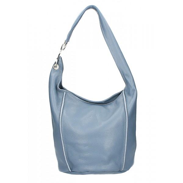 Kožená kabelka na rameno 1223 Made in Italy blankytne modrá Blankytna modrá