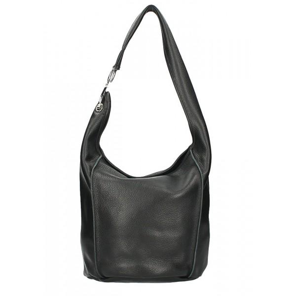 Kožená kabelka na rameno 1223 Made in Italy čierna Čierna