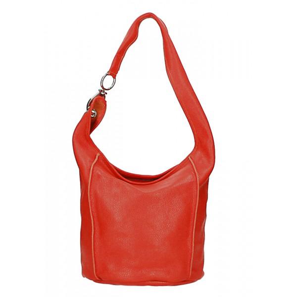 Kožená kabelka na rameno 1223 Made in Italy červená Červená