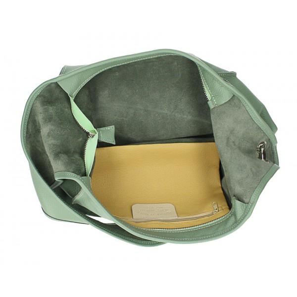 Kožená kabelka na rameno 1223 Made in Italy tmavohnedá Hnedá