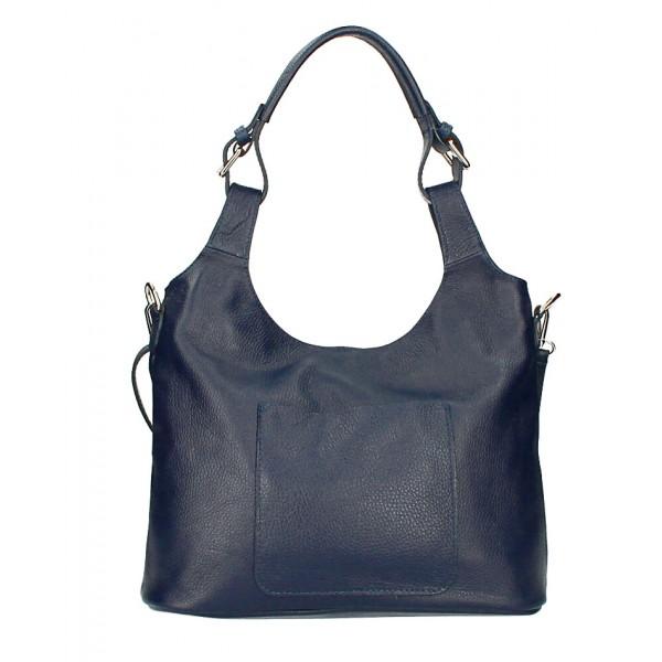 Kožená kabelka na rameno 205 MADE IN ITALY tmavomodrá Modrá