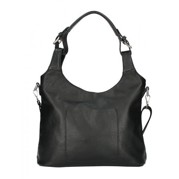 Kožená kabelka na rameno 205 MADE IN ITALY čierna Čierna