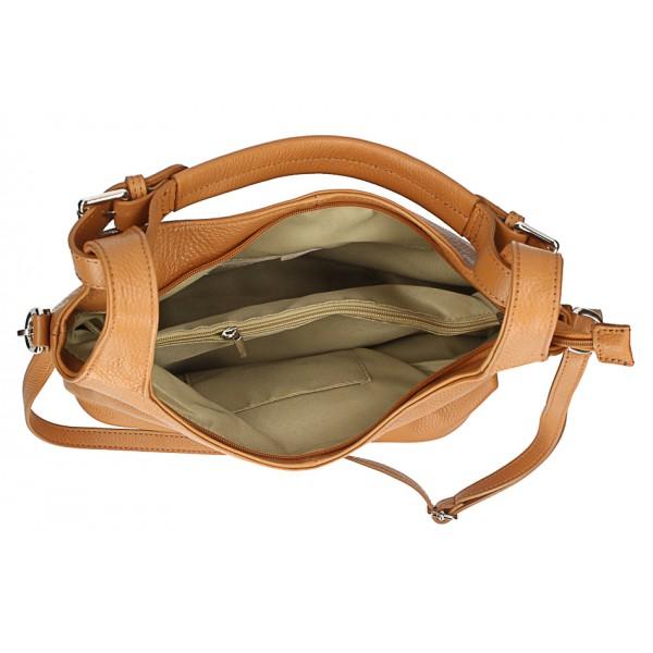 Kožená kabelka na rameno 205 MADE IN ITALY šedohnedá Šedohnedá