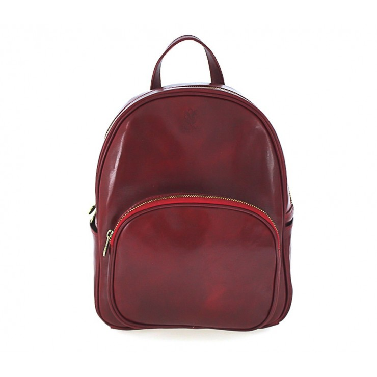 Leather backpack 292 Made in Italy red