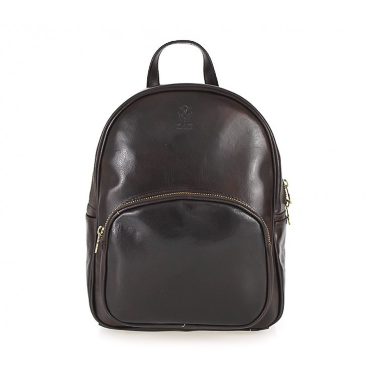 Leather backpack 292 Made in Italy dark brown