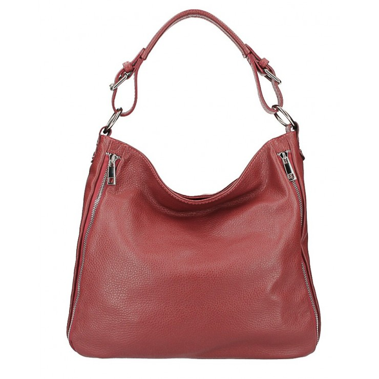 Leather shoulder bag 390 bordeaux