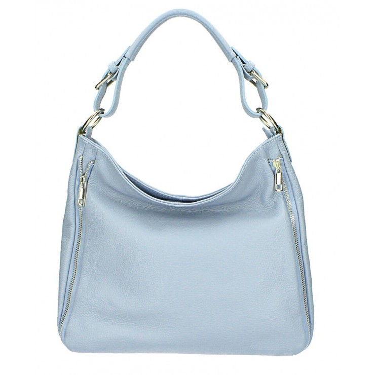 Leather shoulder bag 390 light blue