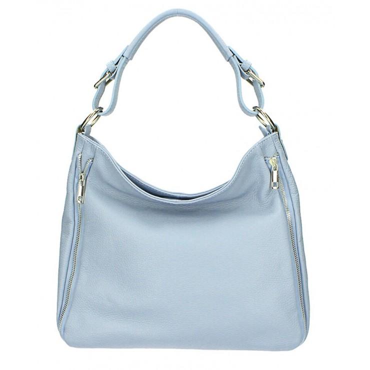 Nebesky modrá kožená kabelka na rameno 390