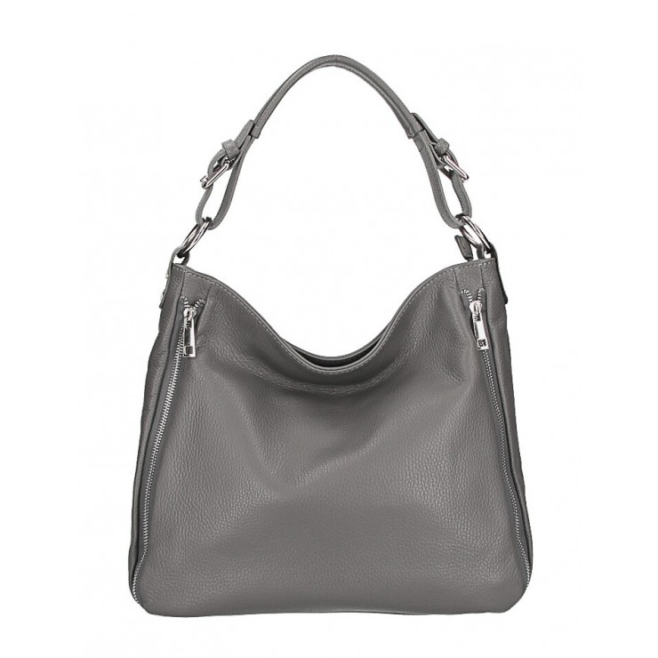 Leather shoulder bag 390 dark gray