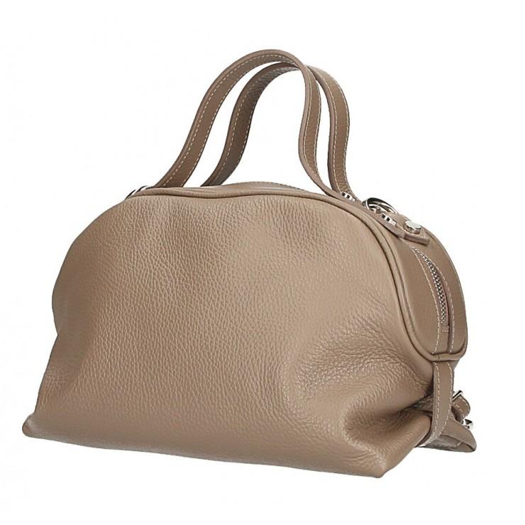Tmavá šedohnedá kožená kabelka 592 Made in Italy