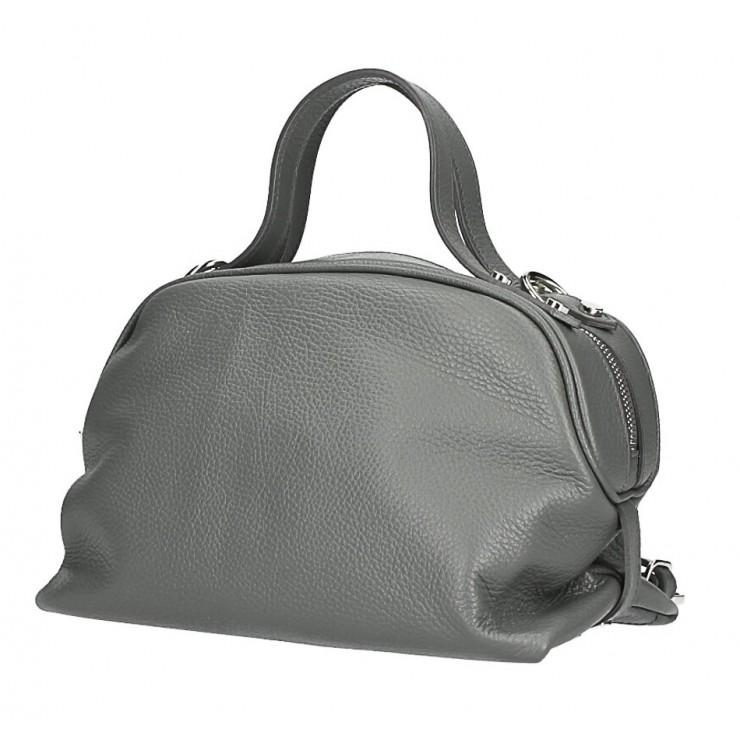 Tmavošedá kožená kabelka 592 Made in Italy