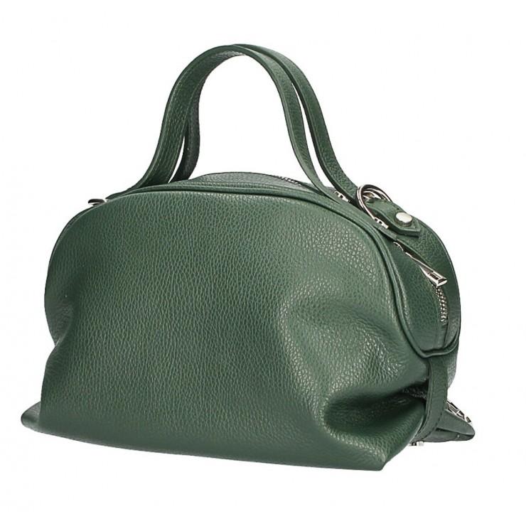 Tmavozelená kožená kabelka 592 Made in Italy