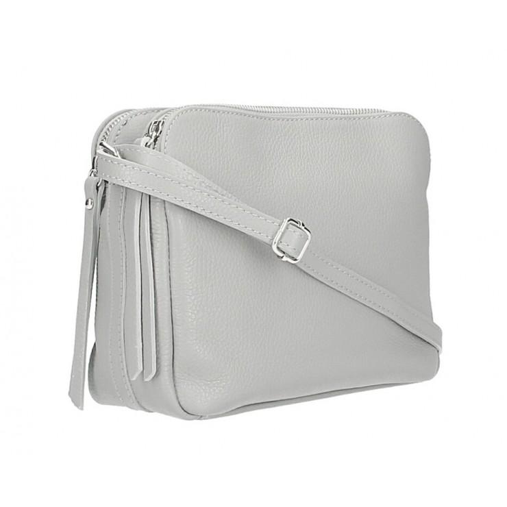 Kožená kabelka na rameno 517 šedá