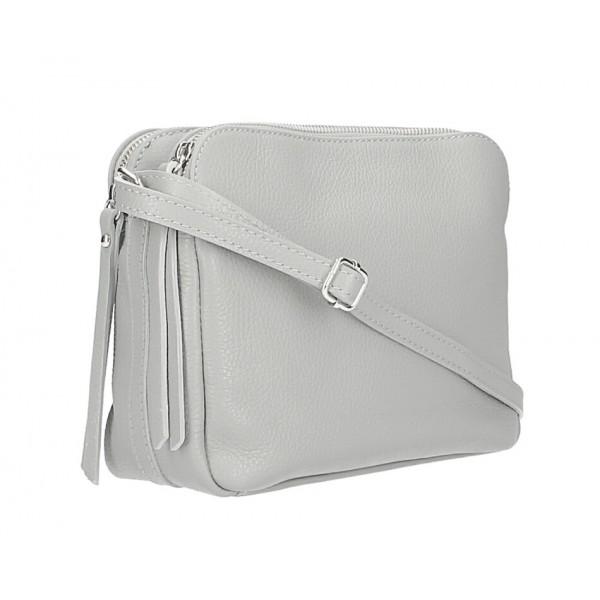 Kožená kabelka na rameno 517 šedá Šedá