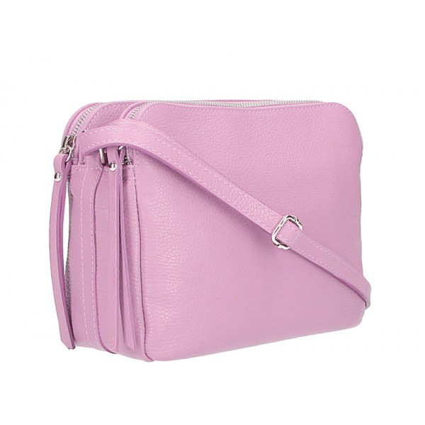 Kožená kabelka na rameno 517 ružová Ružová