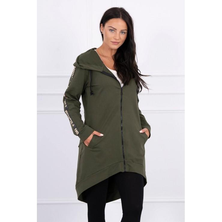 Women's sweatshirt with zipper at the back MI8997 dark green