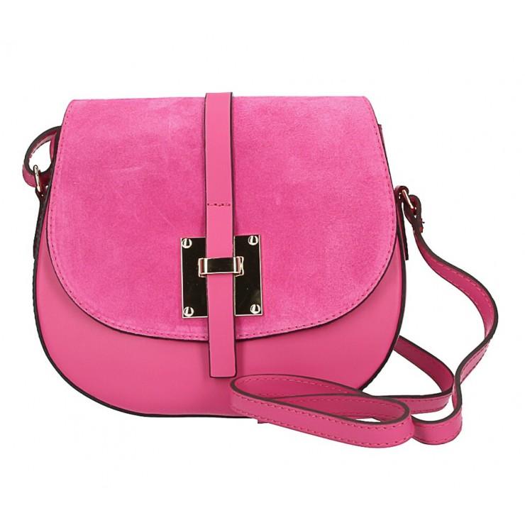 Genuine Leather Shoulder Bag 942 fuxia