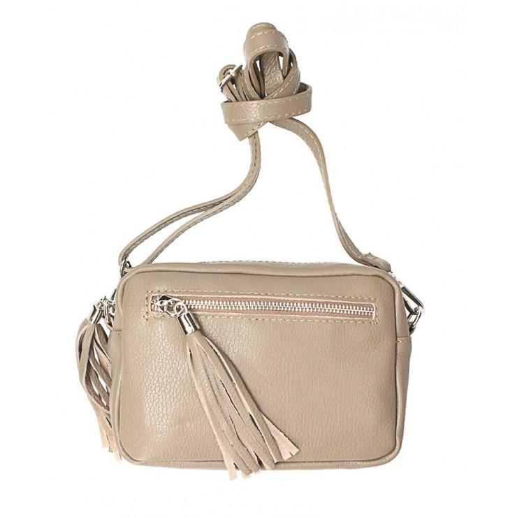 Dámska kožená kabelka na rameno 760 tmavo šedohnedá