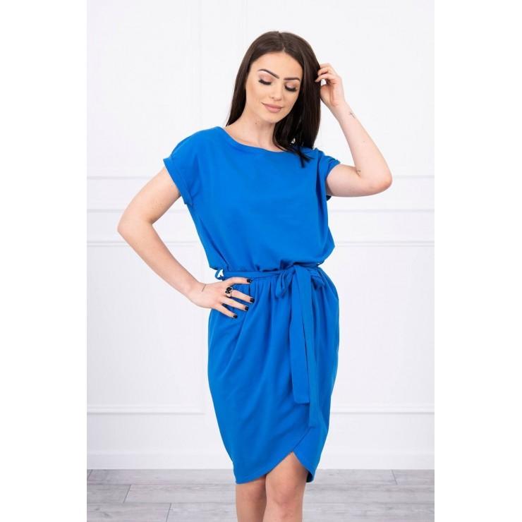 Bavlněné šaty s páskem MI8980 azurově modré