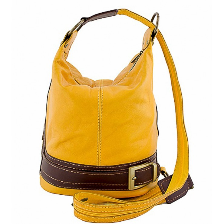 Dámska kožená kabelka/batoh 1201 žltá Made in Italy