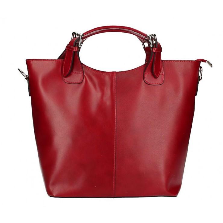 Kožená kabelka do ruky 69 červená