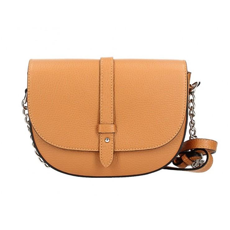 Genuine Leather Shoulder Bag 5344 cognac
