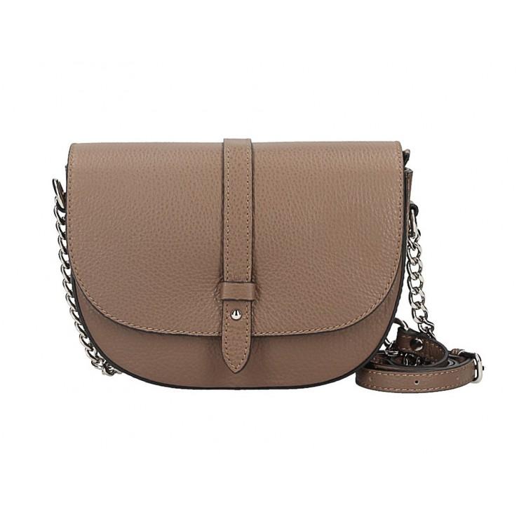 Genuine Leather Shoulder Bag 5344 dark taupe